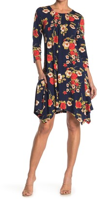 Papillon Floral Pleated Handkerchief Hem Shift Dress