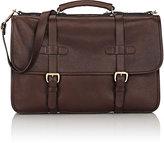 Lotuff Leather Men's English Briefcase-DARK BROWN