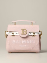 Balmain Handbag In Canvas With Fringes And Monogram