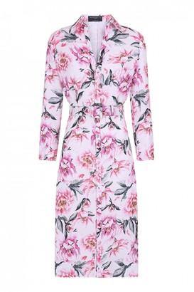Paper Dolls Marston Blush Floral-Print Belted Midi Shirt Dress