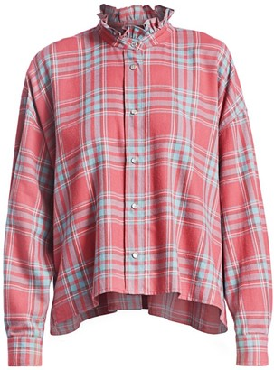 Etoile Isabel Marant Ilaria Plaid Long-Sleeve Top