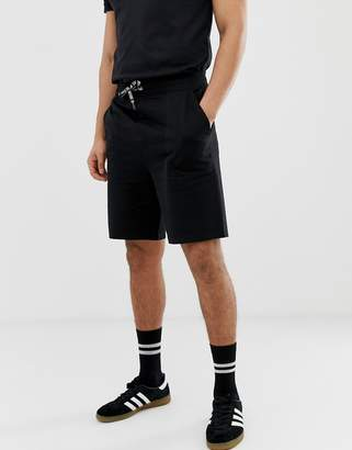 ONLY & SONS logo drawstring boxy fit jersey shorts in black