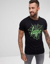 Hype Halloween T-Shirt In Black With Spiderweb Logo