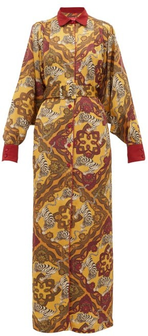 F.R.S For Restless Sleepers F.R.S – For Restless Sleepers Febo Tiger Print Belted Satin Cloque Shirtdress - Womens - Yellow Multi