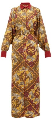F.R.S For Restless Sleepers Febo Tiger-print Belted Satin-cloque Shirtdress - Yellow Multi