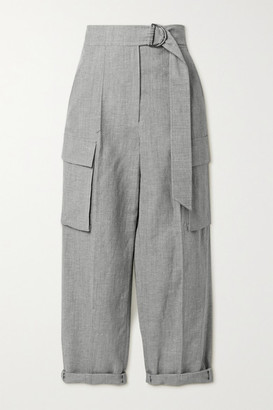 Brunello Cucinelli Belted Cropped Wool And Linen-blend Straight-leg Pants - Gray