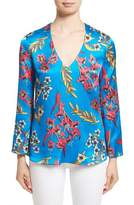 Etro Jungle Floral Print Silk Blouse