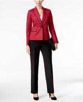 Le Suit Textured Colorblocked Pantsuit