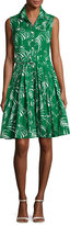 Samantha Sung Audrey Palm-Print Sleeveless Shirtdress, Green Pattern