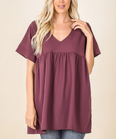 Lydiane Women's Tunics EGGPLANT - Eggplant V-Neck Short-Sleeve Babydoll Tunic - Women & Plus