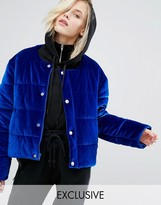 Puffa Oversized Collarless Padded Jacket In Velvet