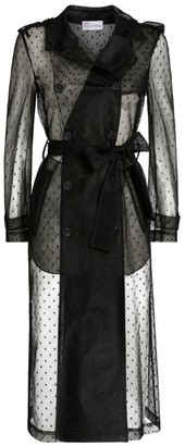 RED Valentino Mesh Dot-Print Trench Coat