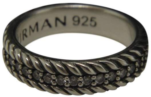 David Yurman 925 Sterling Silver & Diamond Streamline Cable Band Ring Size 10