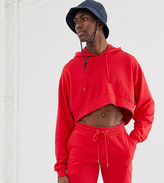 Asos Design DESIGN Tall crop oversized tracksuit with hood and shorts in red