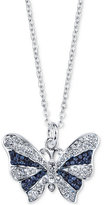 Unwritten Silver-Tone Blue Crystal Butterfly Necklace