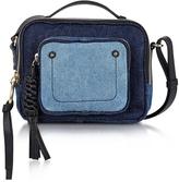 See by Chloe Patti Denim and Black Leather Crossbody Bag
