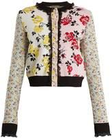 Alexander McQueen Floral-jacquard patchwork-knit cardigan