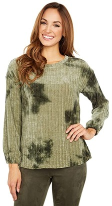 Tribal Long Sleeve Pullover with Side Slits (Mosstone) Women's Sweater