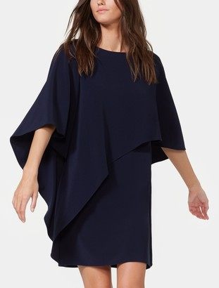 Halston Flowy Asymmetric Drape Crepe Dress