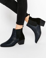 Park Lane Croc Print Leather Mid Heeled Chelsea Boots