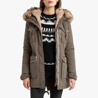 Schott JKT HALLW Cotton Mix Parka with Faux Fur Hood