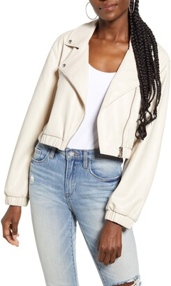 Blank NYC Drop Shoulder Faux Leather Crop Moto Jacket