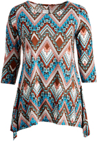 Glam Teal & White Geometric Chevron Sidetail Tunic - Plus