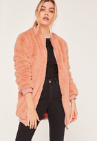 Missguided Pink Longline Faux Fur Bomber Jacket