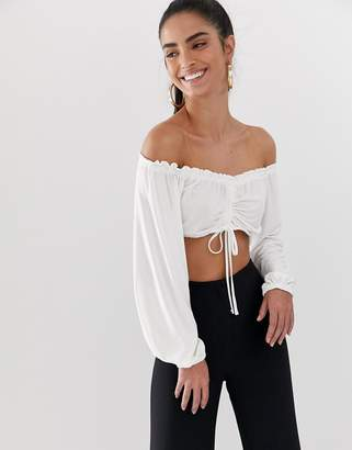 Bardot Flounce London crop top with ruched detail in white