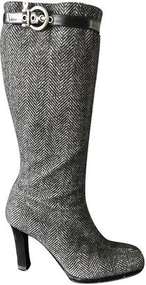 Burberry Grey Tweed Boots