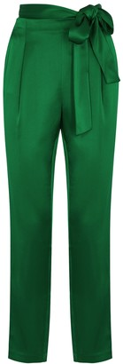 Alice + Olivia Jessie green satin trousers