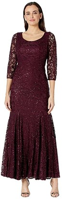 Alex Evenings Long Sequin Lace Fit-and-Flare Dress (Fig) Women's Dress