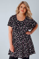 Yours Clothing Black & Multi Floral Print Peplum Top With Frill Angel Sleeves