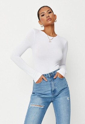 Missguided Petite White Long Sleeved Jersey Bodysuit