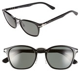 Persol Men's 51Mm Polarized Retro Sunglasses - Black/ Grey Green