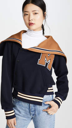 Monse Varsity Off Shoulder Bomber