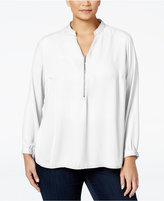 NY Collection Plus Size Zip-Front Blouse