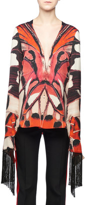 Alexander McQueen Plunging Long-Sleeve Scarf Fringe Painted Butterfly-Print Silk Blouse