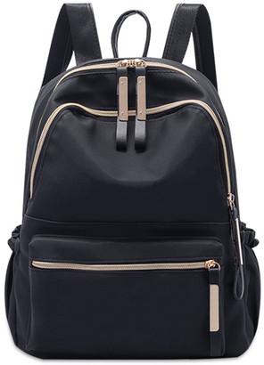 Ella & Elly Women's Backpacks Black - Black Contrast-Zip Backpack