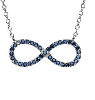 FINE JEWELRY Simullated Blue Sapphire Sterling Silver Infinity Necklace