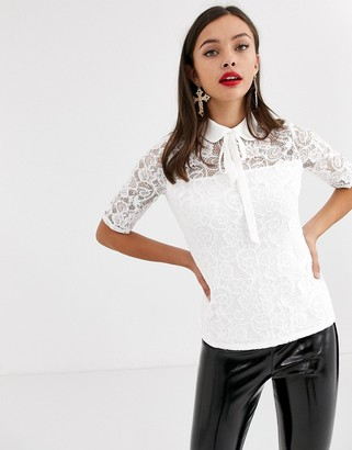 Morgan all over lace blouse in ivory-White