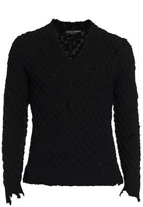 Dolce & Gabbana Distressed V-Neck Sweater