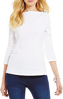 Westbound 3/4 Sleeve Boat Neck Solid Top