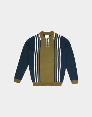 The Idle Man - Colour Block Knit Polo Navy