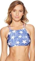 Roxy Women's Star Day American Flag Cropped Bikini Top