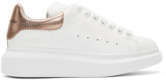 Alexander McQueen White and Rose Gold Metallic Oversized Sneakers