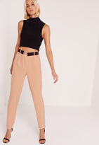 Missguided Contrast Clasp Belt Cigarette Trousers Pink
