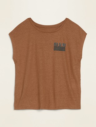 Old Navy Graphic Linen-Blend Muscle Tee for Women