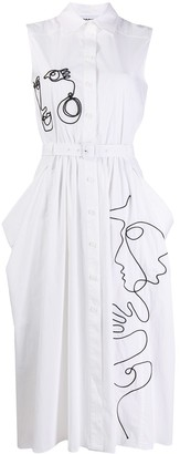 Moschino Cornely-embroidered sleeveless shirt dress