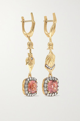 Larkspur & Hawk Emily's Garden Posy 14-karat Gold, Tourmaline And Diamond Earrings - one size